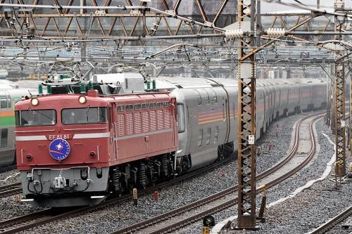 EF81-81カシオペア 2015.3.8 9:22撮影 日暮里~鶯谷間