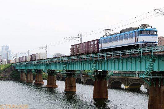EF81-454 5075レ 千早(操)~福岡(タ)間